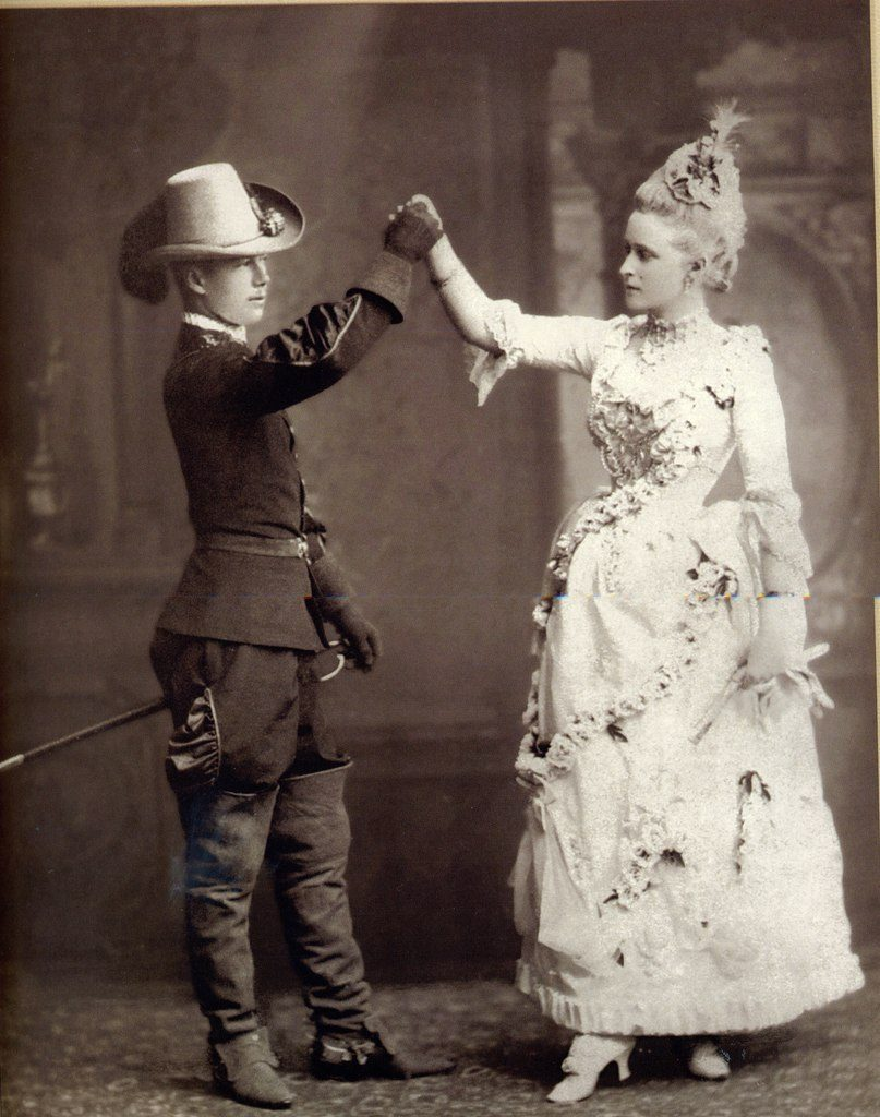 In the role of Hamlet - Tsarevich Nikolai Alexandrovich, in the role of Ophelia - Grand Duchess Elizabeth Feodorovna. 1888