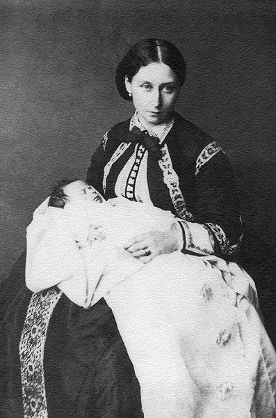 Little Princess Elizabeth in the arms of the mother of the Grand Duchess of Hesse and Rhine Alice.