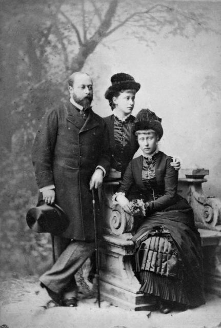 Prince of Wales Albert with the nieces of Hessian princesses Elizabeth and Victoria.