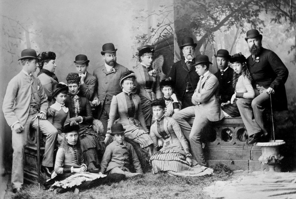 Royal family portrait. In the picture: Princess Hessian Elizabeth (fifth on the left) and Princess Alice sitting in the second row next to the Princess of Wales. 1882 year.