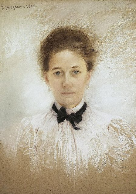 The maid of honor of Grand Duchess Elizabeth Feodorovna Ekaterina Kozlyaninova (Kitty). Portrait of the work of Elizabeth Feodorovna.