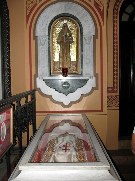 The relics of the Holy Martyr Grand Duchess Elizabeth Feodorovna in the Church of Mary Magdalene in Jerusalem.