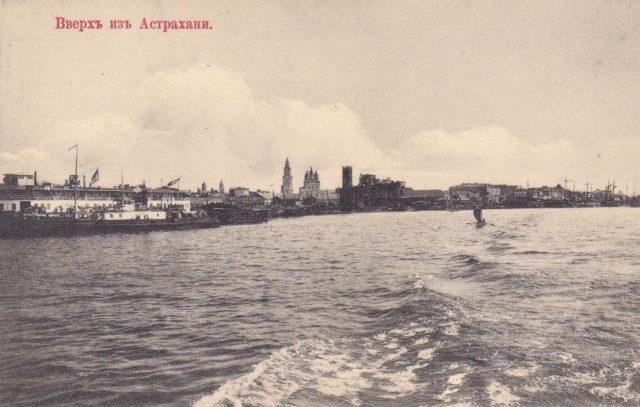 Astrakhan harbor, South Russia city on Volga River