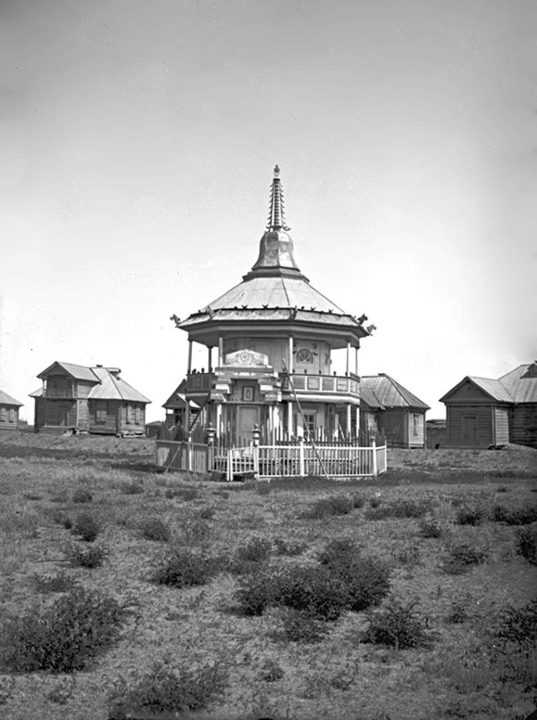 Kalmyk temple near Astrakhan. 1894, South Russia city on Volga River