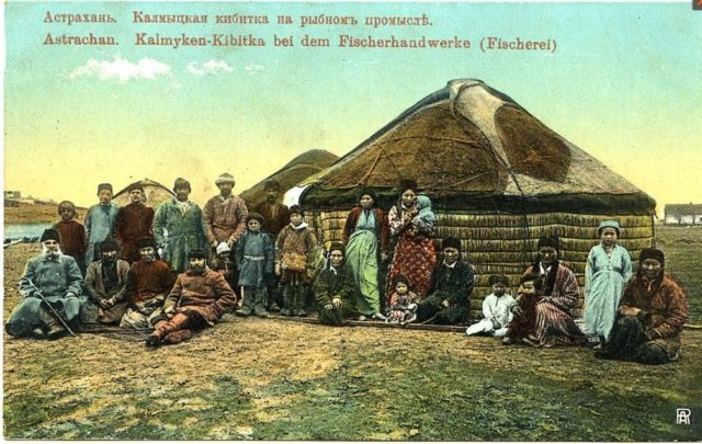 Kalmyk tent in fishing settlement. Astrakhan, South Russia city on Volga River