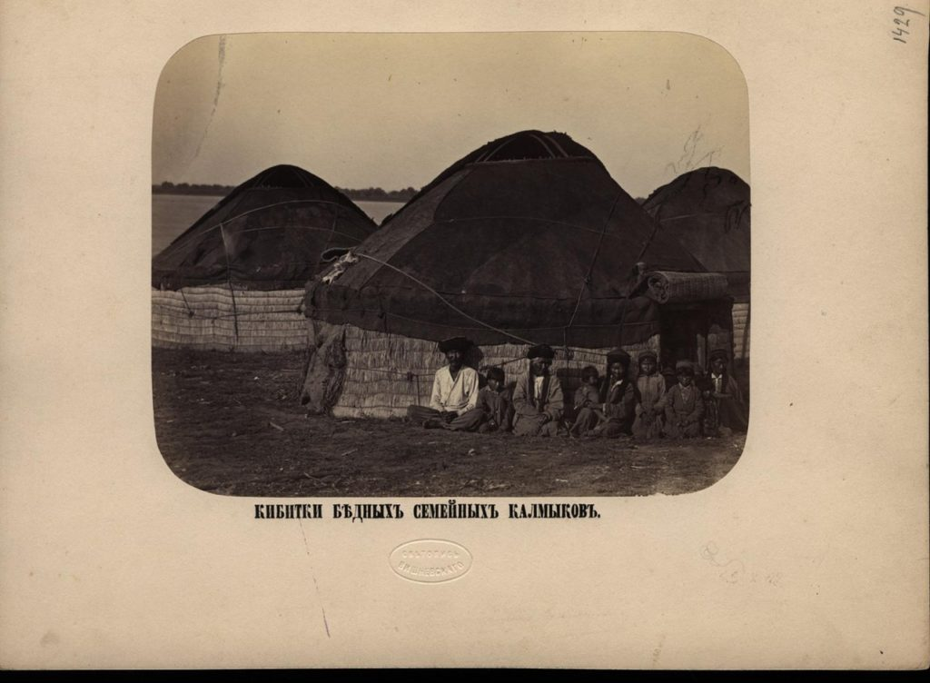 Kalmyk tent in the steppes near Astrakhan. 1894, South Russia city on Volga River
