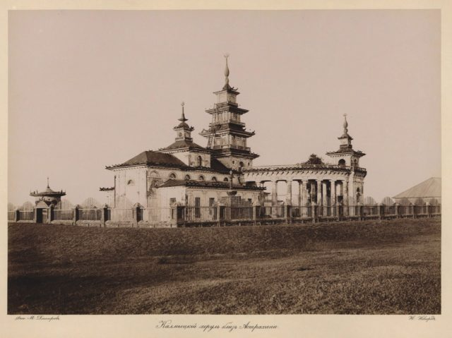 Khusheutovsky Khurul. Kalmyk temple. Astrakhan, South Russia city on Volga River