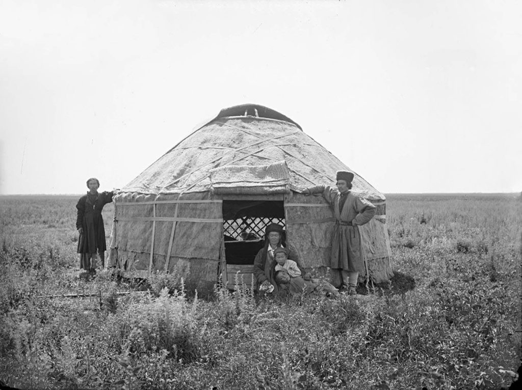 Kirghiz tent in the Nogai steppes near Astrakhan. 1894, South Russia city on Volga River