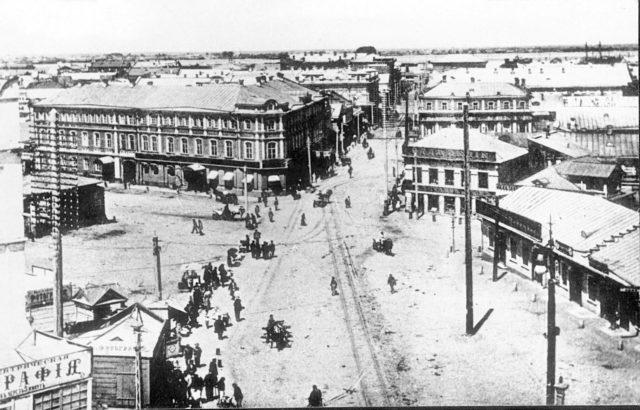 Nikolskaya street. Astrakhan, South Russia city on Volga River