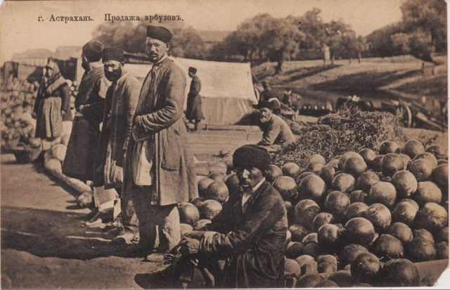 Sale of watermelons. Astrakhan, South Russia city on Volga River