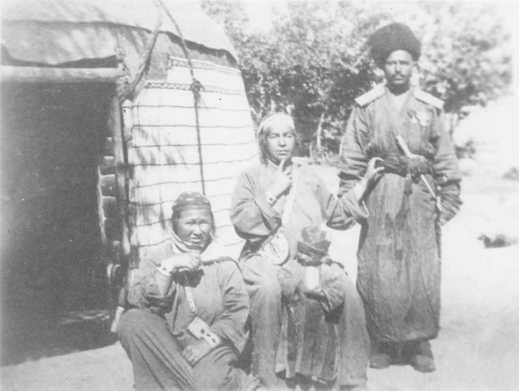 The Tekin family near their yurt near Astrakhan.