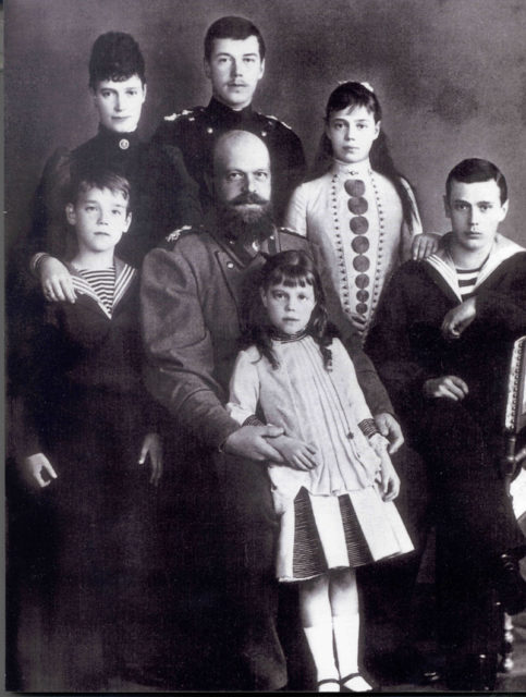 Emperor Alexander III with Empress Maria Feodorovna (Dagmar) and children.