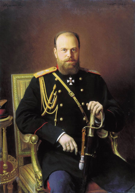 Portrait of Emperor Alexander III. 1886 year. Painter Ivan Nikolayevich Kramskoy.