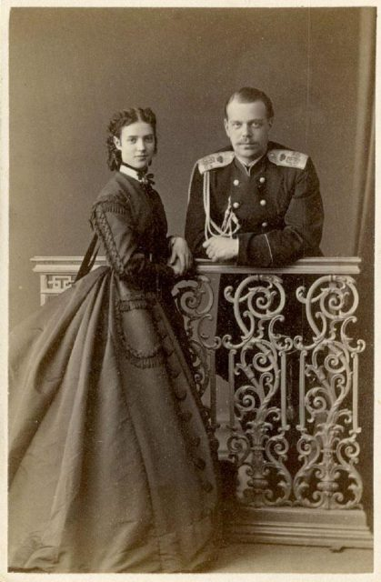 Tsarevich Alexander Alexandrovich and his wife Tsesarevna Maria Feodorovna (Dagmar). 1866-1867