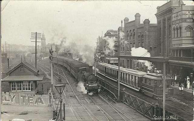 Train and Steam Tram in Scott Street, Newcastle, N.S.W. - circa 1920