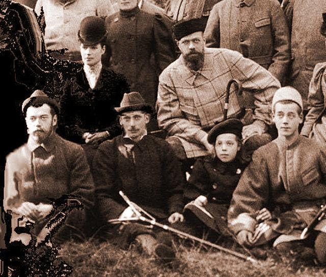 Emperor Alexander III, Empress Maria Feodorovna, Tsesarevich Nikolai Alexandrovich, Grand Duke George Alexandrovich, Grand Princess Olga Alexandrovna, Grand Duke Mikhail Alexandrovich.