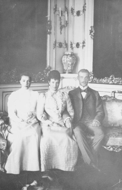 Empress Maria Feodorovna and her children Grand Duchess Olga Alexandrovna and Grand Duke Mikhail Alexandrovich.