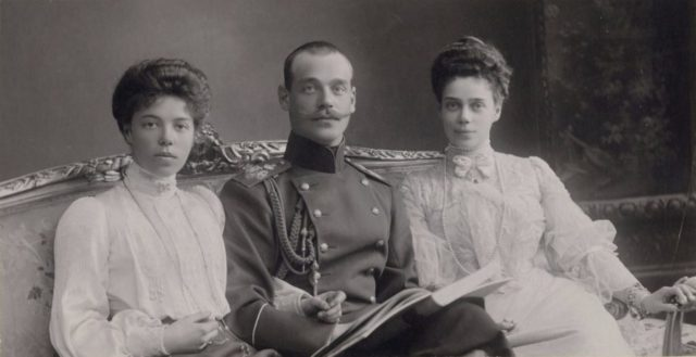 Her Highness Grand Duchess Olga Alexandrovna her brother Grand Duke Mikhail Alexandrovich and her sister Great Princess Ksenia Alexandrovna.
