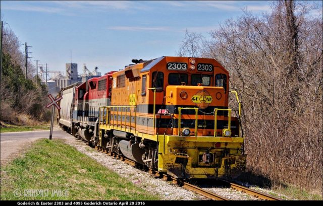 RAILREEL Chasing GEXR 2303 4095 Stratford to Goderich April 20 2016