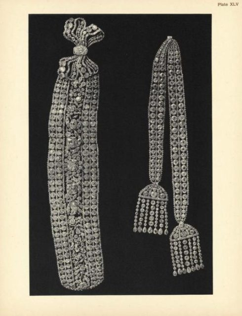 Fersman's Catalog. A diamond belt with two tassels of Catherine II.