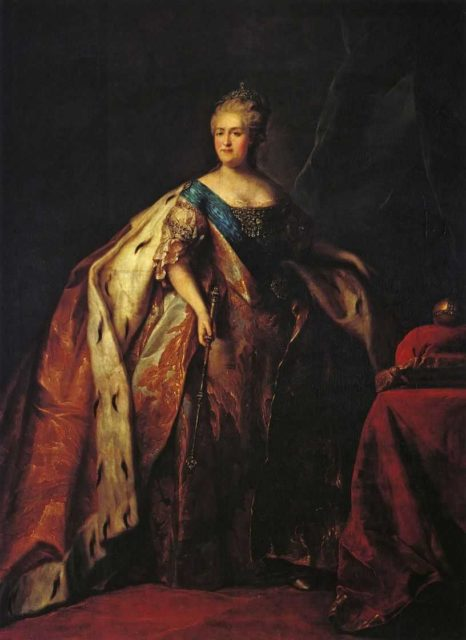 Ceremonial portrait of Empress Catherine II (Great). Russian empire. House of the Romanovs.