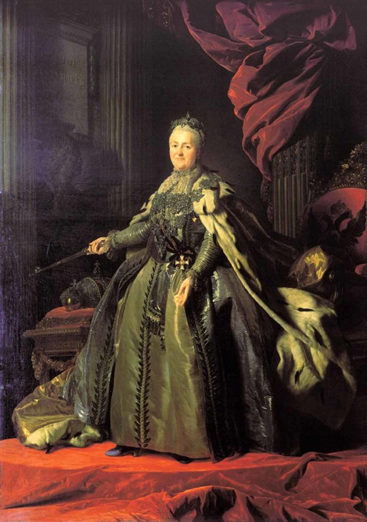 """""""Portrait of Catherine II"""" by artist Alexander Roslin. Russian empire. House of the Romanovs."""