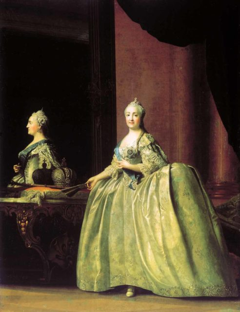 """Portrait of Catherine II in front of a mirror."" Russian empire. House of the Romanovs."
