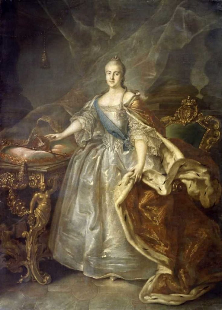 Portrait of Catherine II with regalia of power - scepter and power. Russian empire. House of the Romanovs.