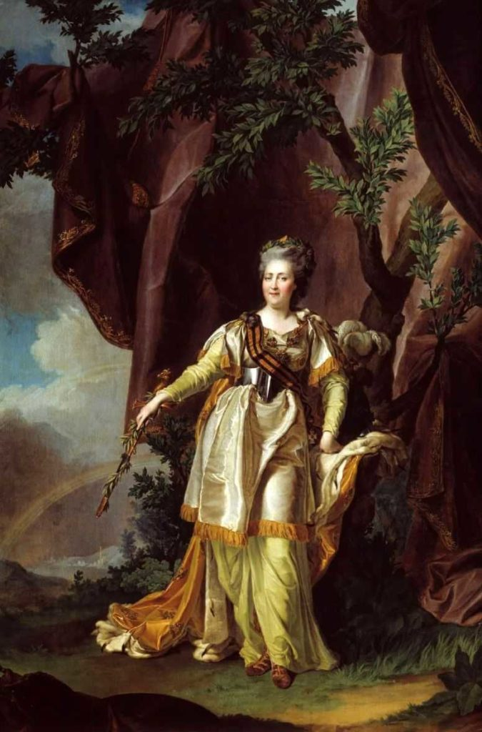 Portrait of Empress Catherine II (Great) with ribbon of the Order of St. George. Russian empire. House of the Romanovs.