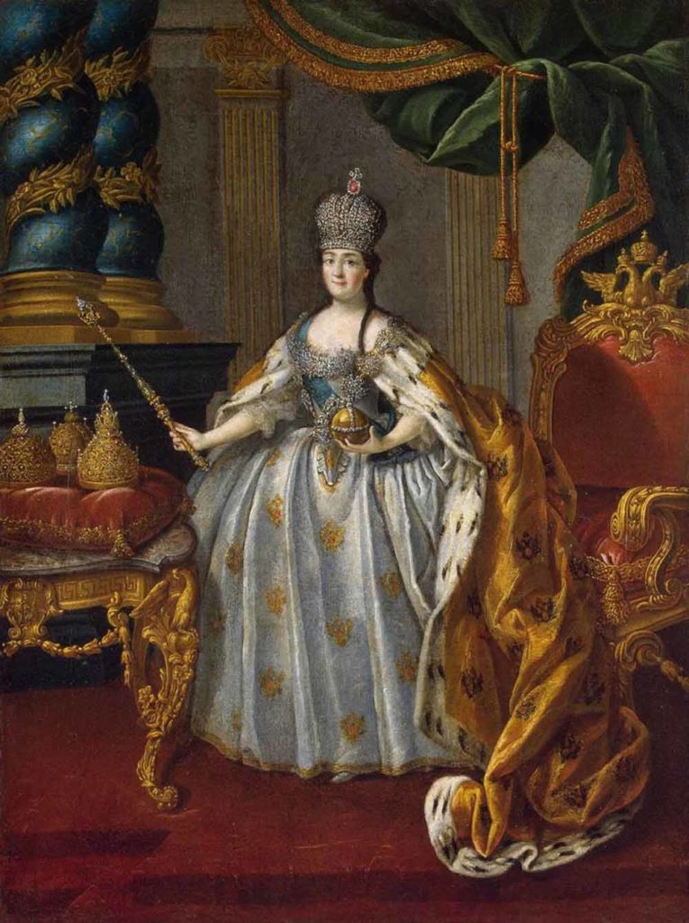 Portrait of Empress Catherine II with regalia of power: crown, scepter and power. Russian empire. House of the Romanovs.