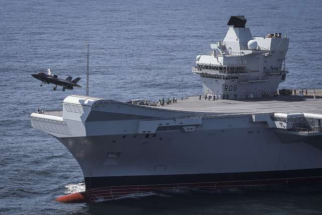 Royal Navy Commander Nathan Gray RN, Makes the first ever Lockheed Martin F-35B Lightning II fighter jet take off from HMS Queen Elizabeth.