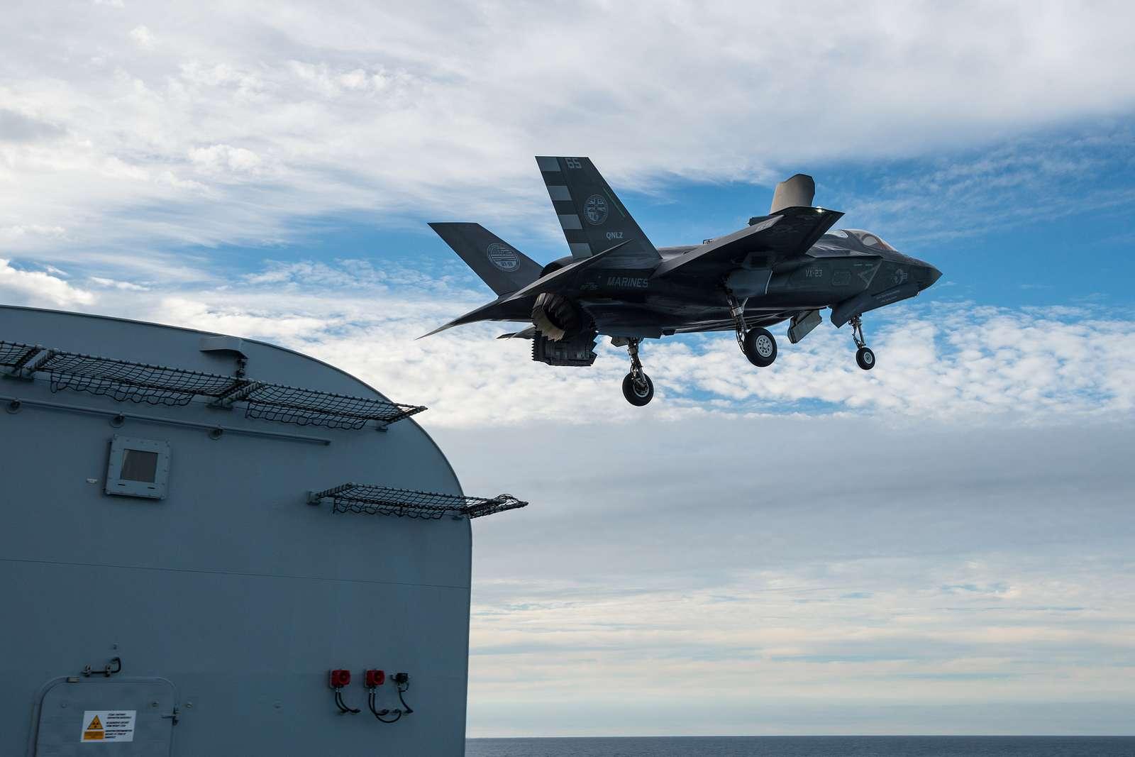 Lockheed Martin F-35B Lightning II fighter jet take off from HMS Queen Elizabeth.
