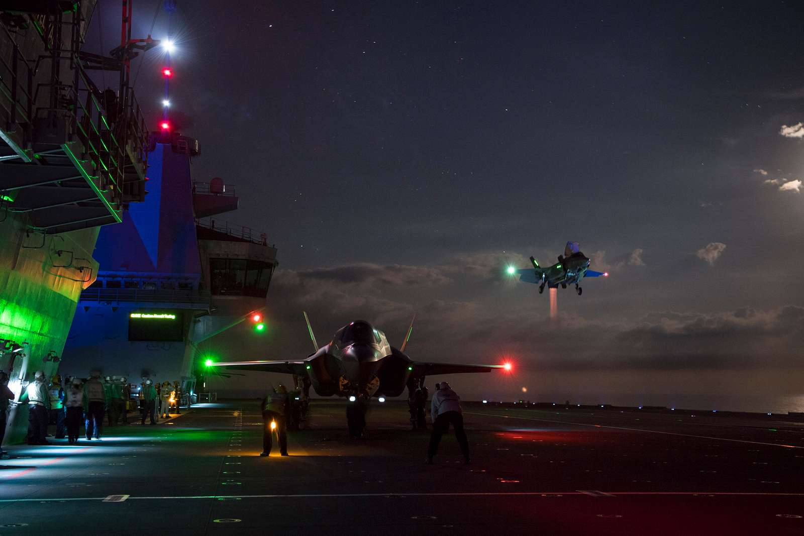 Lockheed Martin F-35B Lightning II fighter jets on board HMS Queen Elizabeth.