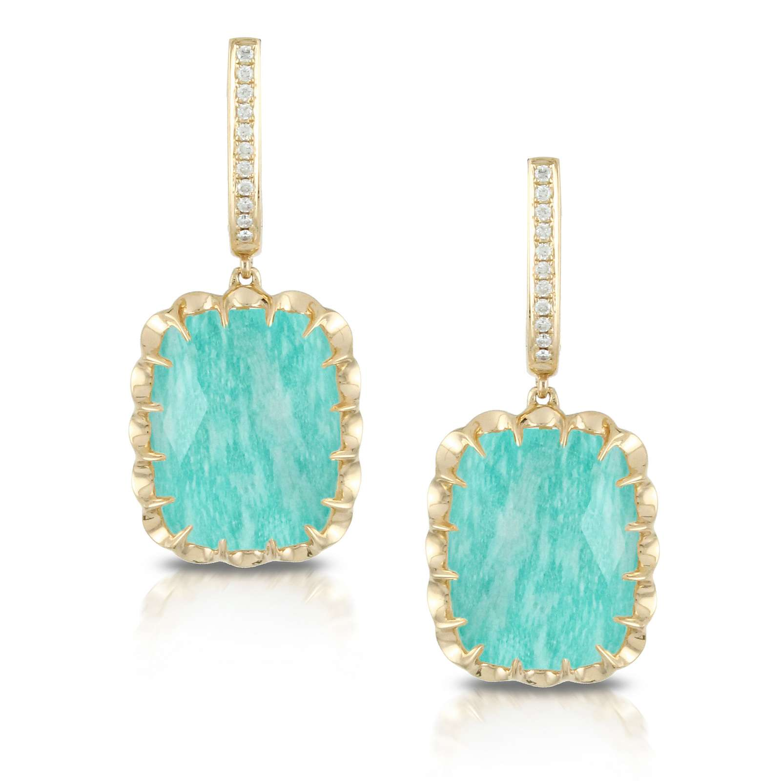 45f588b55 Hooked With 18k Yellow Gold Tiny Claws Clear Quartz Over Amazonite With Diamonds  Earrings - Diamond & Design Public Domain Image