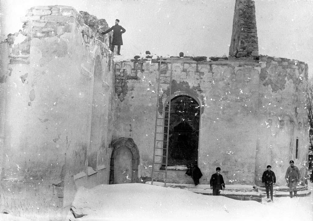 Gränna Church after the fire in 1889, Småland, Sweden