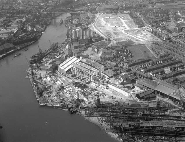 Aerial view of the North Sands shipyard