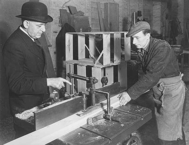 At work in a shipyard joiners' shop