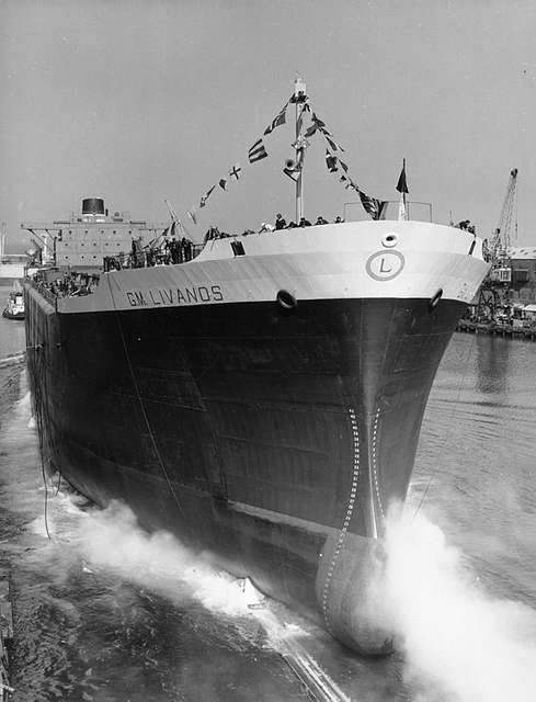 Launch of 'G.M. Livanos' at the North Sands shipyard