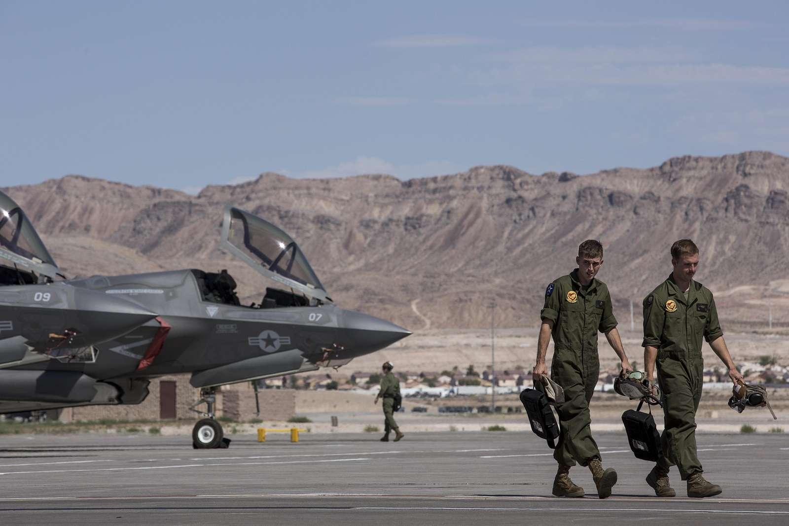 Lockheed Martin F-35B Lightning IIs at Nellis Air Force Base, Nev.