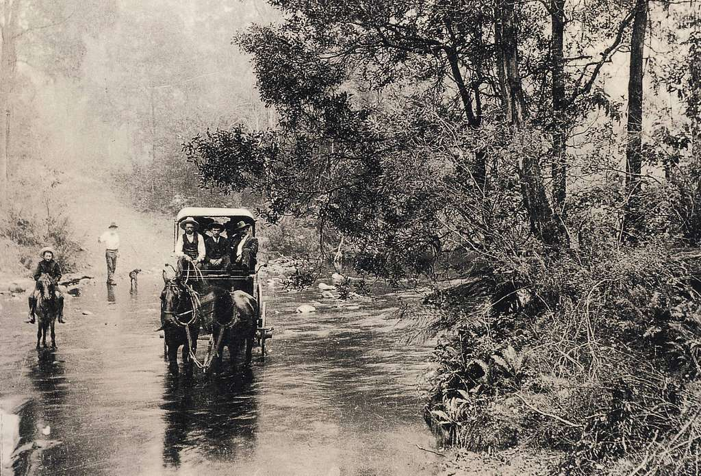 Crawford and Co. coach crossing the Snowy Creek, circa 1900 (Explore #128)