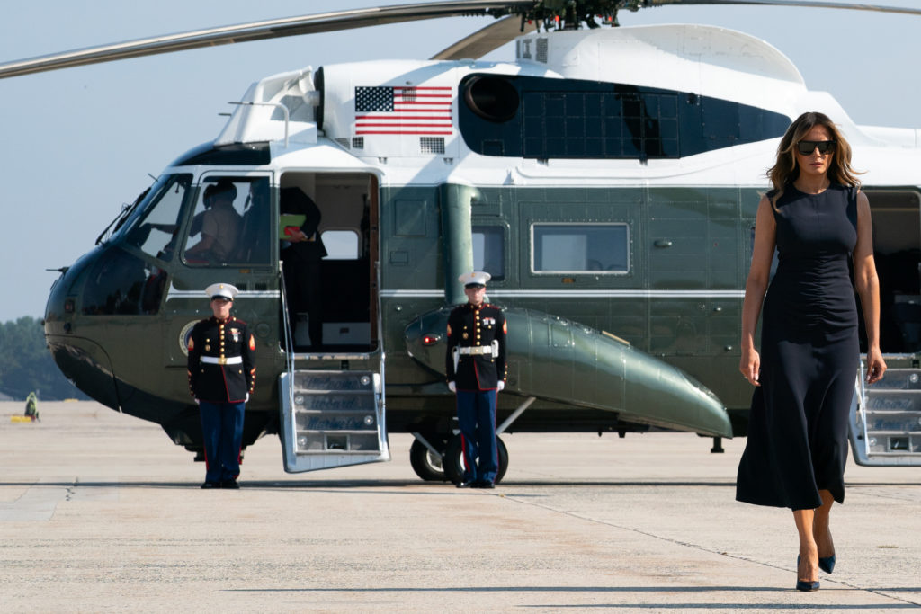 Melania Trump. Marine One Helicopter.
