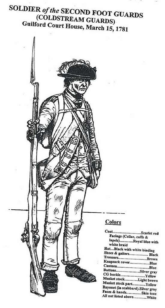 Coloring sheet: Soldier of the Second Foot Guards (Coldstream Guards)