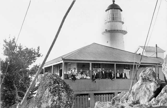 Gathering at lighthouse keeper's residence, Pine Islet, Mackay region research