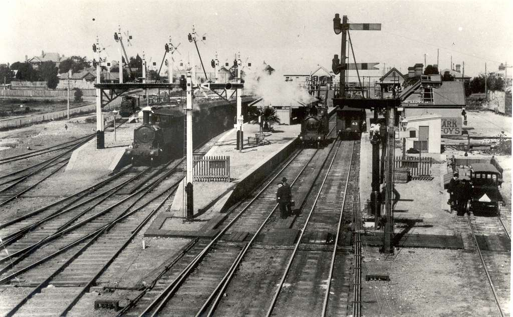 Hornsby railway station overview circa 1920