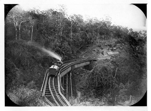Queensland State Archives 3063 Train bridge on Main Range Toowoomba c 1870