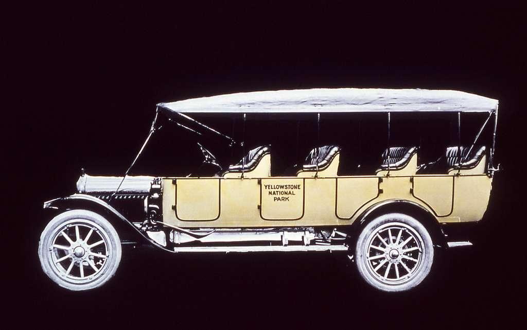 Illustration of Yellowstone National Park vehicle; JP Clum Lantern; 1910