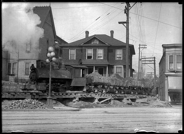 Regrade dirt train, ca 1913 (MOHAI 6268)