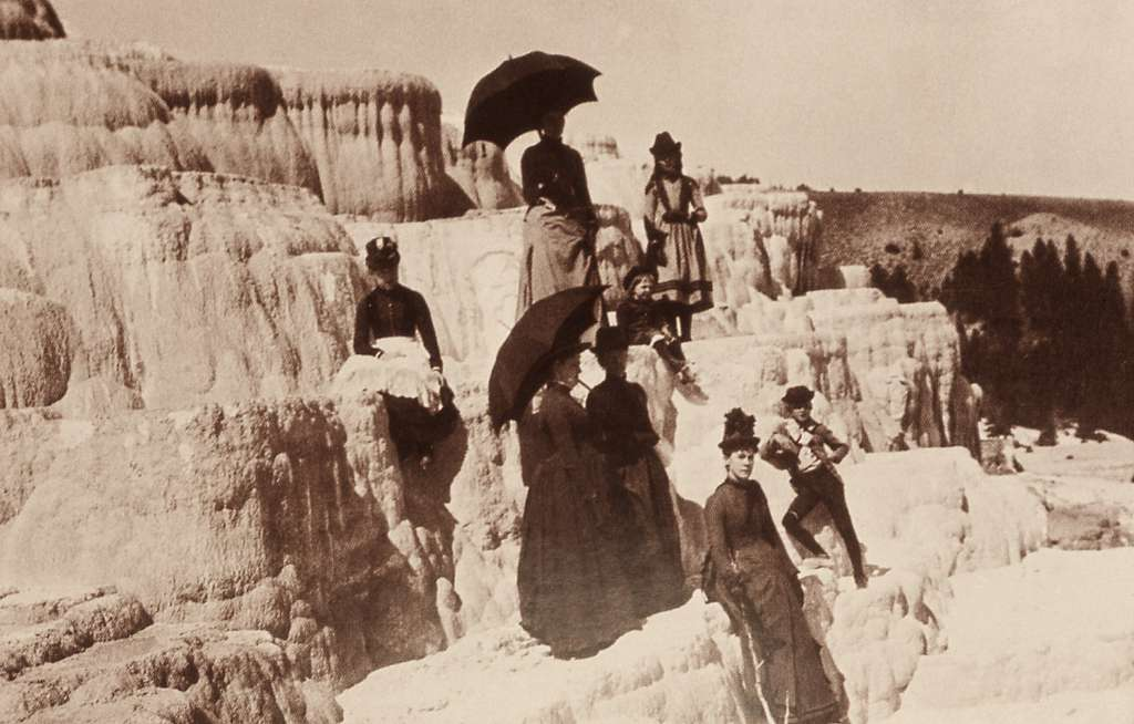Early visitors on Mammoth Terraces; Photographer unknown; No date