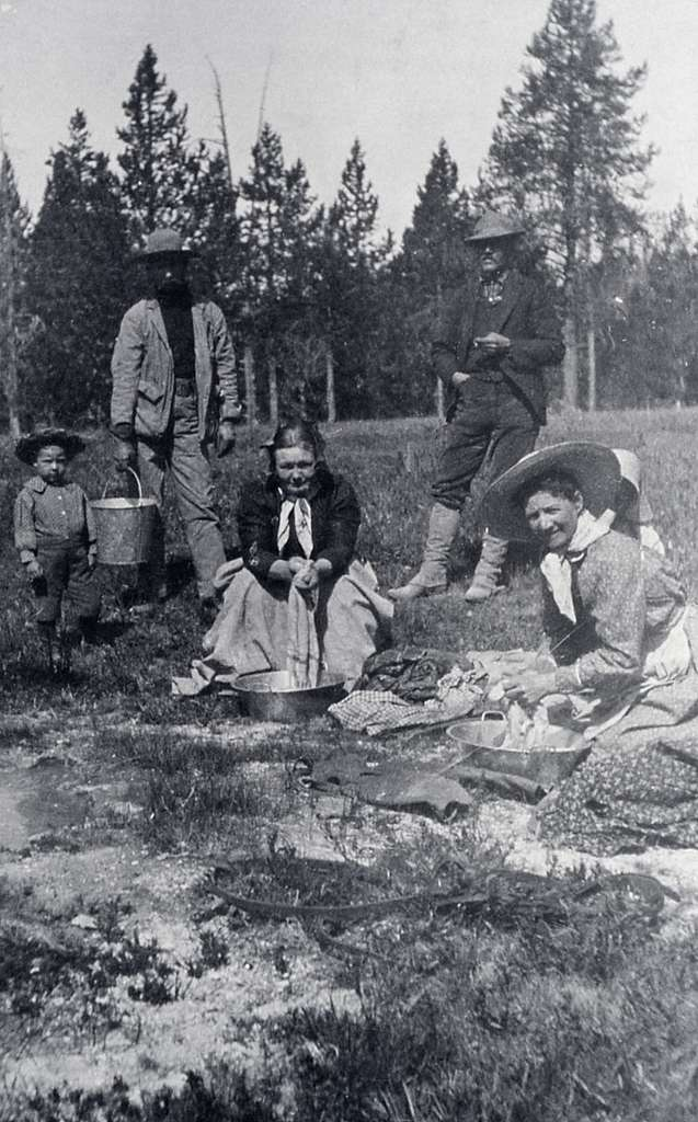 Tourists doing laundry in spring at Norris; Photographer unknown; Around 1896