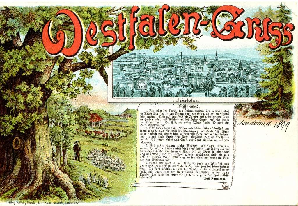 Willy Hoehl Ansichtskarte Westfalen-Gruss, Iserlohn, Westfalenlied